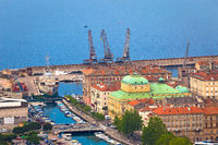 City of Rijeka historic center and waterfront view