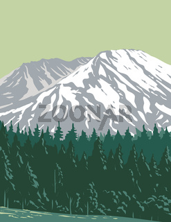 Mt. Saint Helens in Mount St. Helens National Volcanic Monument Located in Gifford Pinchot National Forest Washington State  United States WPA Poster Art