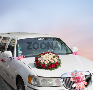 Wedding car decorated with flowers