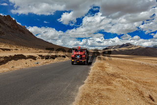 Manali-Leh road in Indian Himalayas with lorry. Ladakh, India