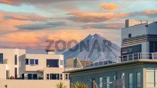 Mt. Taranaki in New Zealand between houses