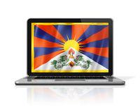 Tibet flag on laptop screen isolated on white. 3D illustration