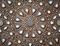 Arabesque decorations tongue and groove assembled, inlaid with ivory and ebony, on Minbar of Al Rifai Mosque, Cairo