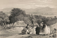 The tomb of Emperor Zahir ad-Din Muhammad Babur, Kabul, Afghanistan, First Anglo-Afghan War, sketch by James Atkinson, 1839