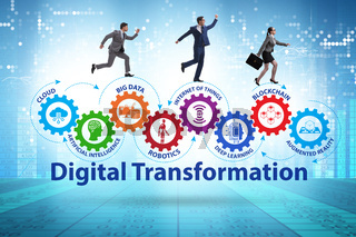 Concept of digital transformation with business people