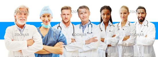 Ärzte verschiedenen Alters als Klinik oder Studium Konzept
