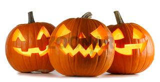 Three Halloween Pumpkins on white