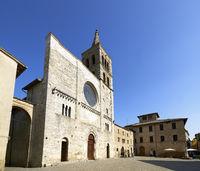 Bevagna Umbria Italy. San Michele Arcangelo church in San Silvestro square
