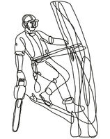 Arborist or Tree Surgeon Climbing Tree with Chainsaw Continuous Line Drawing