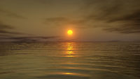 A warm sunset over the ocean water. 3D illustration