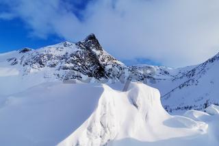 Stormoa snowy peak in northern Norway in winter