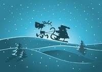 Der Weihnachtsmann mit dem Schlitten