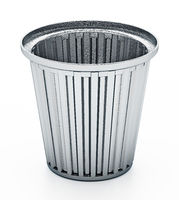 Steel trash can isolated on white background. 3D illustration
