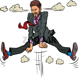emotional male businessman jumped up, steam from his ears, cartoon pose