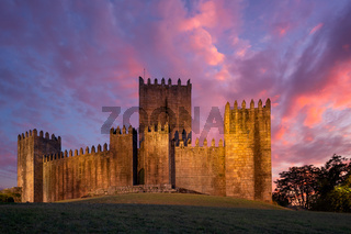 Guimaraes castle at sunset, in Portugal