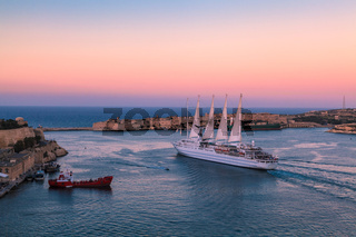 Cruise Ship Leaving the Grand Harbour in Malta