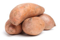 Pile Of Sweet Potatoes Isolated On White