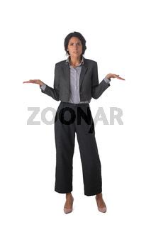 Business woman shrug shoudres