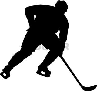 Eishockey Spieler sprintet los