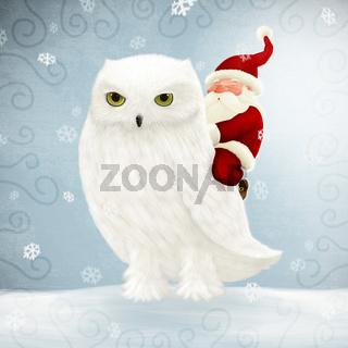 Santa Claus rides white owl
