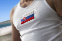 The national flag of Slovakia on the athlete's chest