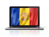 Andorran flag on laptop screen isolated on white. 3D illustration