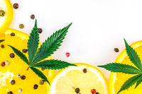 Cannabis Terpene concept with leafs lemons orange and peppercorns isolated on white