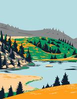 Lake Windeben in Nock Mountains National Park Carinthia Austria  Art Deco WPA Poster Art