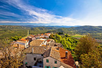 Motovun. Idyllic hill town of Motovun and Mirna river valley view