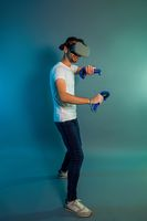 Man using a gaming gadget for virtual reality