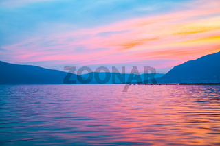 Landscape with The Bay of Kotor in Montenegro at dusk