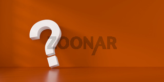 Fine 3d concept with a white question mark icon on orange