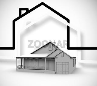 Focus on a grey house
