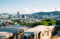 Naksan park fortress and Seoul city view in Korea