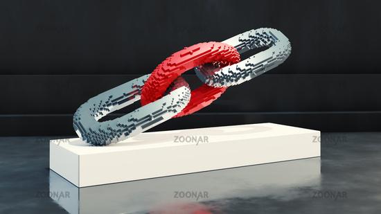 Blockchain symbol presentation pixel art