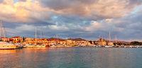 Aegina town at sunset