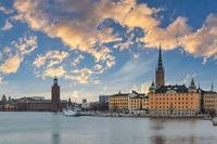 Stockholm Sweden, sunrise city skyline at Stockholm City Hall and Gamla Stan