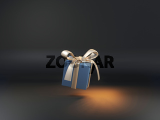 Golden and blue 3d rendered box in dark studio. Minimal concept of birthday or Christmas presents.
