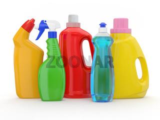 Different detergent bottles on white background. 3d