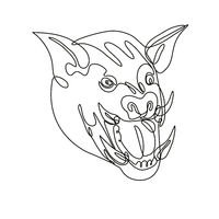 Angry Wild Boar Head Front View Continuous Line Drawing