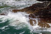 Rugged coastal scenery at Kynance Cove in Cornwall