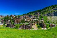 View of Avoriaz in summer, a mountain resort in Portes du Soleil, France, Europe