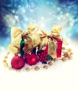 Christmas present boxes at night