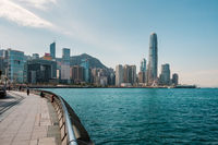 Waterfront Promenade with Victoria Harbour and skyline of Hong kong Island
