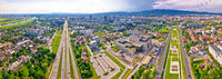 Aerial panoramic view of Zagreb and Sava river near fountains square