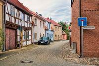 wusterhausen, deutschland - 03.06.2020 - strasse in der altstadt