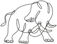 African Elephant Charging Side View Continuous Line Drawing
