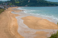 Aerial view to the Zarautz Beach, Basque Country, Spain on a beautiful summer day