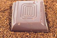 Chocolate on coffee powder