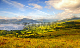 Loch Lomond seen from the hills above the scenic village of Balmaha.